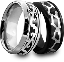 Co-Cast Rings in Titanium and White Gold