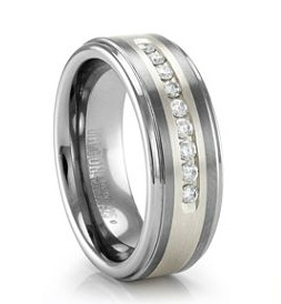 Tungsten, white gold and diamond ring