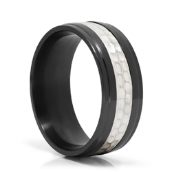 Black Zirconium and Hammered Silver Ring
