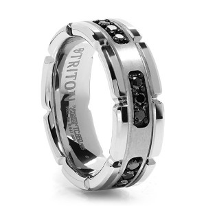 Triton Tungsten and Black Diamond Ring
